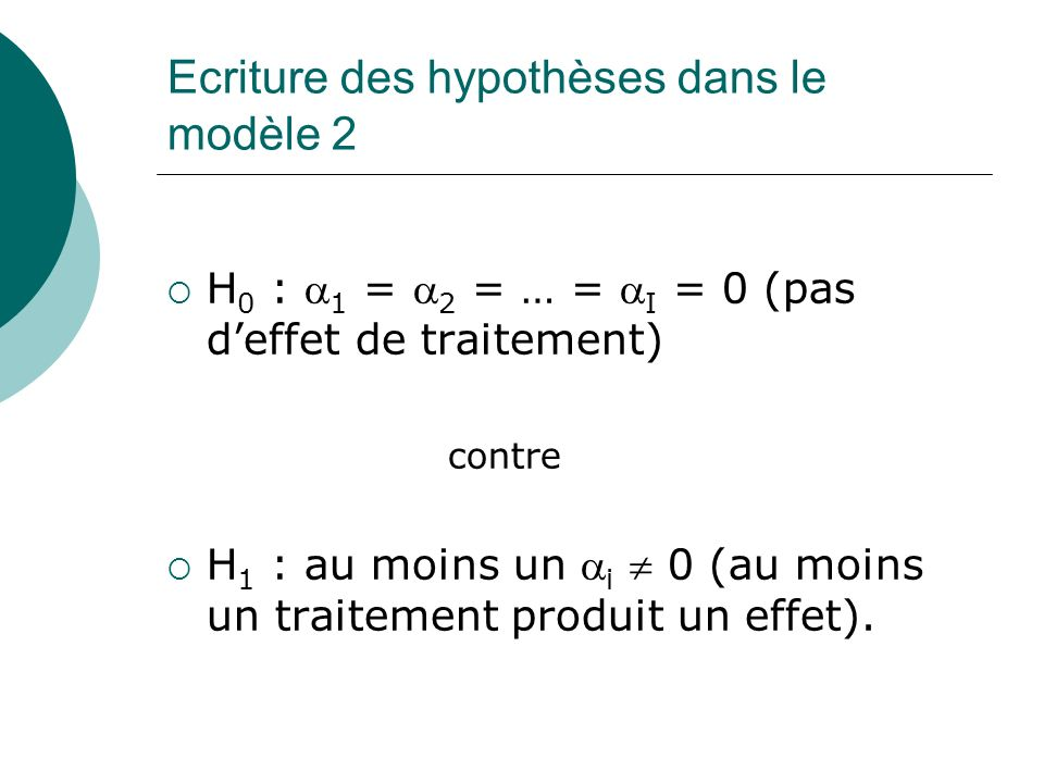 Ecriture des hypothèses dans le modèle 2 H 0 : 1 = 2 = … = I = 0 (pas deffet de traitement) contre H 1 : au moins un i 0 (au moins un traitement produ