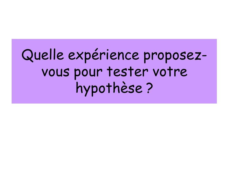 Quelle expérience proposez- vous pour tester votre hypothèse ?