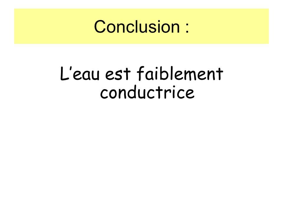 Conclusion : Leau est faiblement conductrice