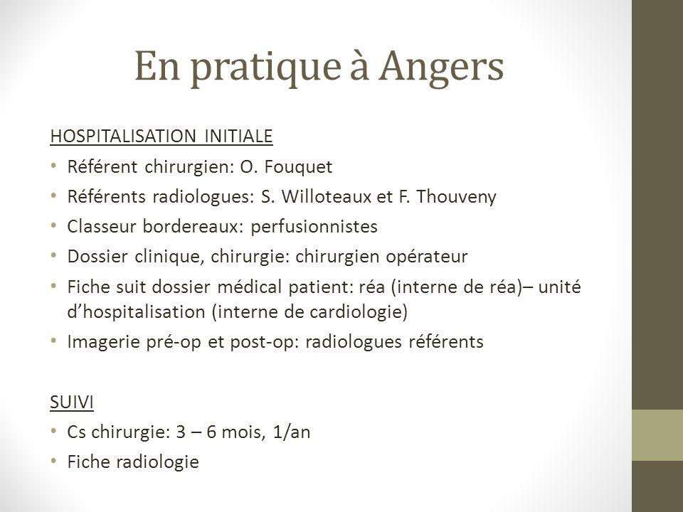 En pratique à Angers HOSPITALISATION INITIALE Référent chirurgien: O. Fouquet Référents radiologues: S. Willoteaux et F. Thouveny Classeur bordereaux: