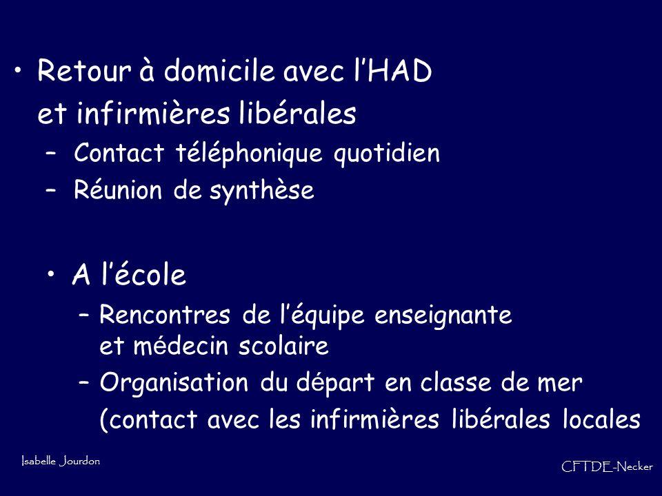 Isabelle Jourdon CFTDE-Necker Retour à domicile avec lHAD et infirmières libérales – Contact téléphonique quotidien – Réunion de synthèse A lécole –Re