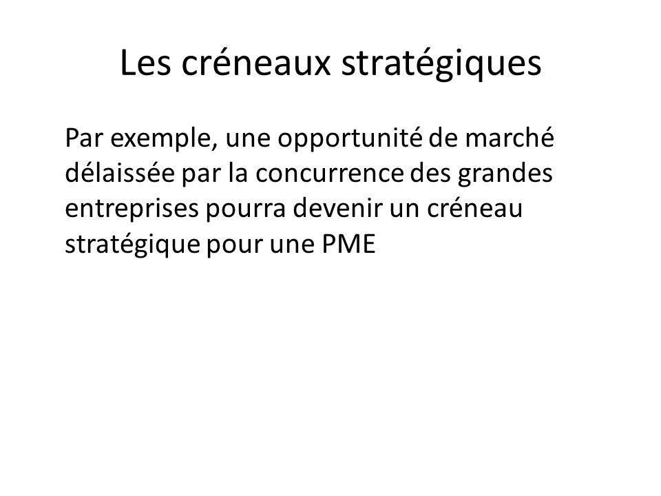 Les créneaux stratégiques Par exemple, une opportunité de marché délaissée par la concurrence des grandes entreprises pourra devenir un créneau straté