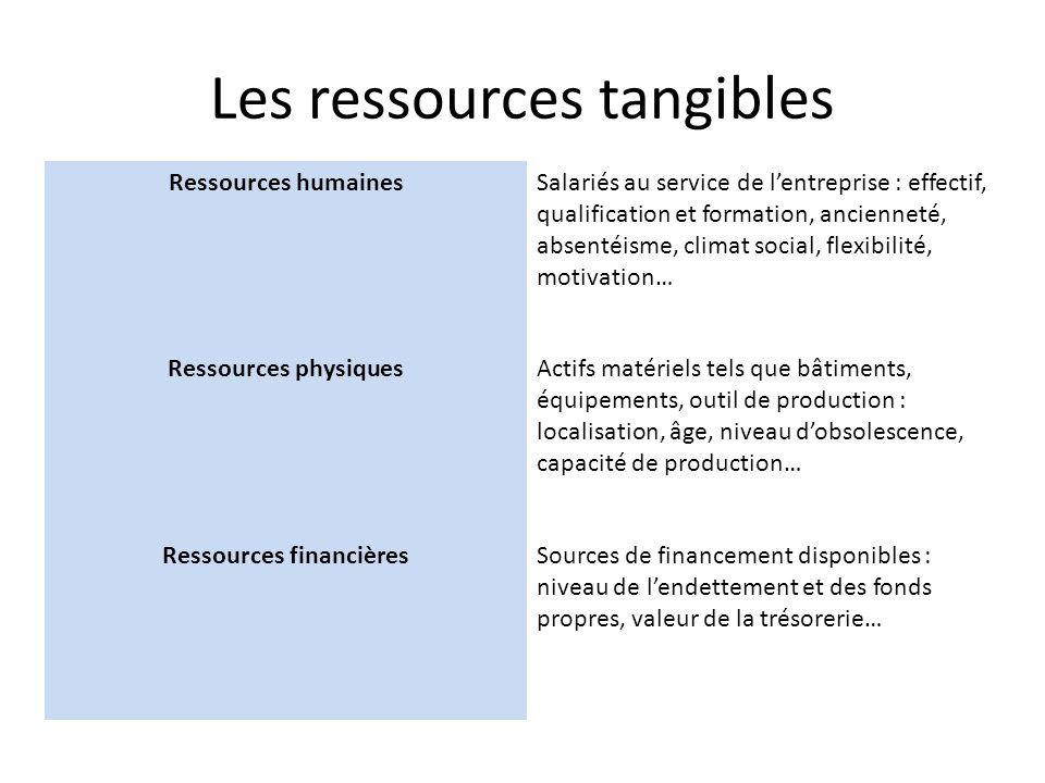 Les ressources tangibles Ressources humainesSalariés au service de lentreprise : effectif, qualification et formation, ancienneté, absentéisme, climat