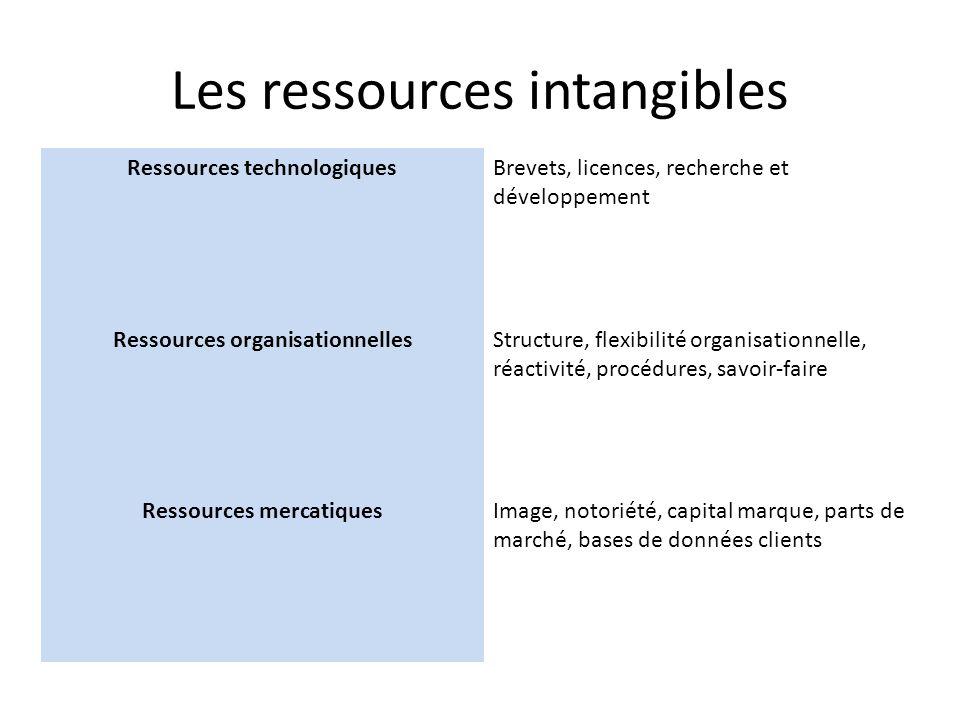Les ressources intangibles Ressources technologiquesBrevets, licences, recherche et développement Ressources organisationnellesStructure, flexibilité