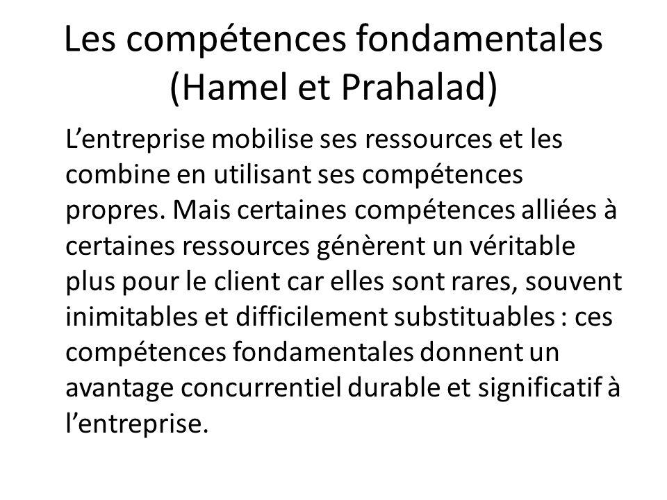 Les compétences fondamentales (Hamel et Prahalad) Lentreprise mobilise ses ressources et les combine en utilisant ses compétences propres. Mais certai