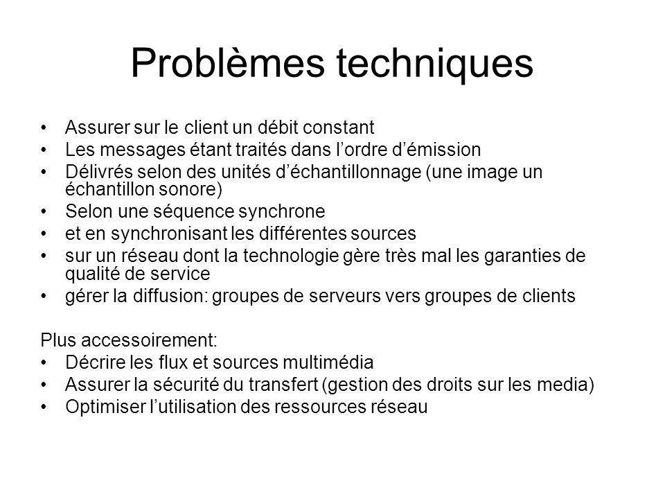 Problèmes techniques Assurer sur le client un débit constant Les messages étant traités dans lordre démission Délivrés selon des unités déchantillonna