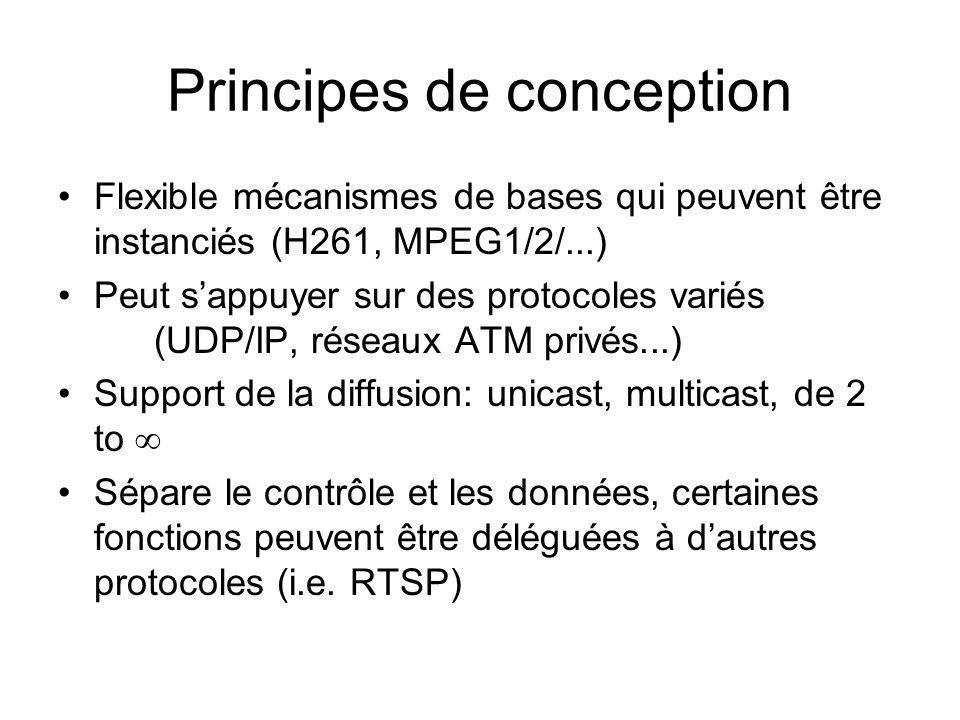 Principes de conception Flexible mécanismes de bases qui peuvent être instanciés (H261, MPEG1/2/...) Peut sappuyer sur des protocoles variés (UDP/IP,