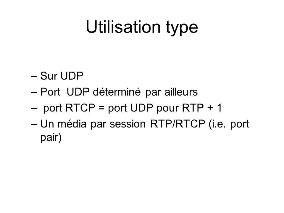 Utilisation type –Sur UDP –Port UDP déterminé par ailleurs – port RTCP = port UDP pour RTP + 1 –Un média par session RTP/RTCP (i.e. port pair)
