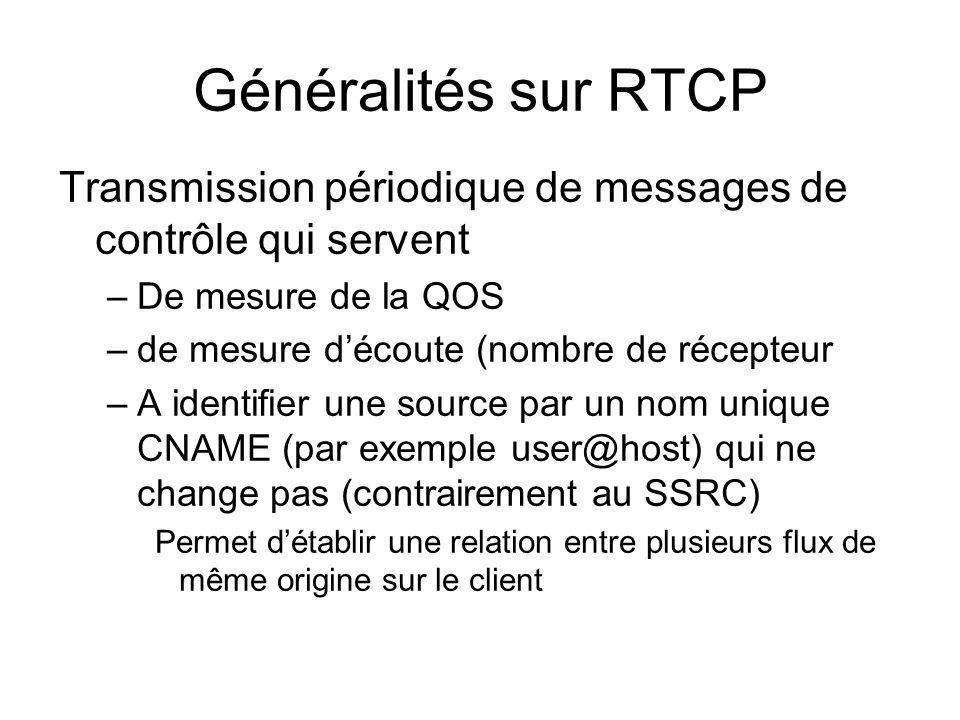 Généralités sur RTCP Transmission périodique de messages de contrôle qui servent –De mesure de la QOS –de mesure découte (nombre de récepteur –A ident