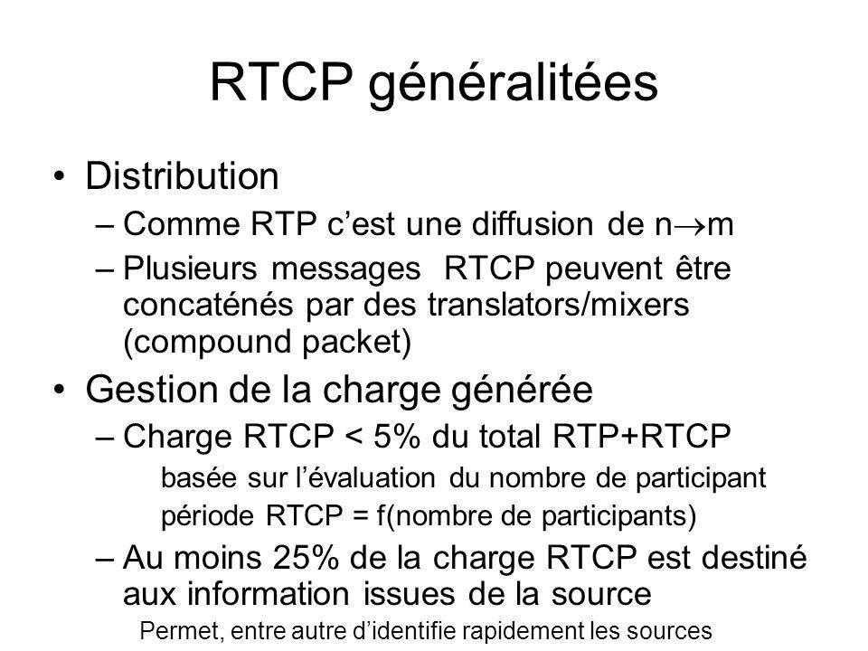RTCP généralitées Distribution –Comme RTP cest une diffusion de n m –Plusieurs messages RTCP peuvent être concaténés par des translators/mixers (compo