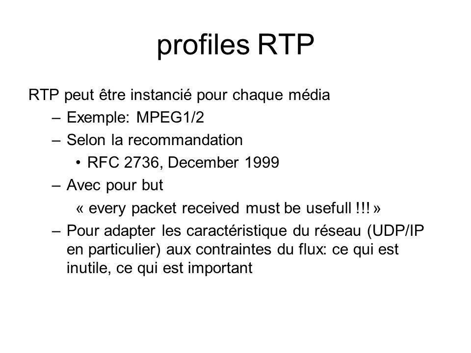 profiles RTP RTP peut être instancié pour chaque média –Exemple: MPEG1/2 –Selon la recommandation RFC 2736, December 1999 –Avec pour but « every packe
