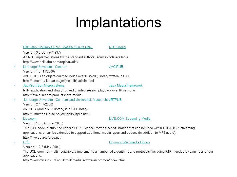 Implantations Bell Labs, Columbia Univ., Massachusetts Univ.RTP Library Version: 3.0 Beta (4/1997) An RTP implementations by the standard authors, sou
