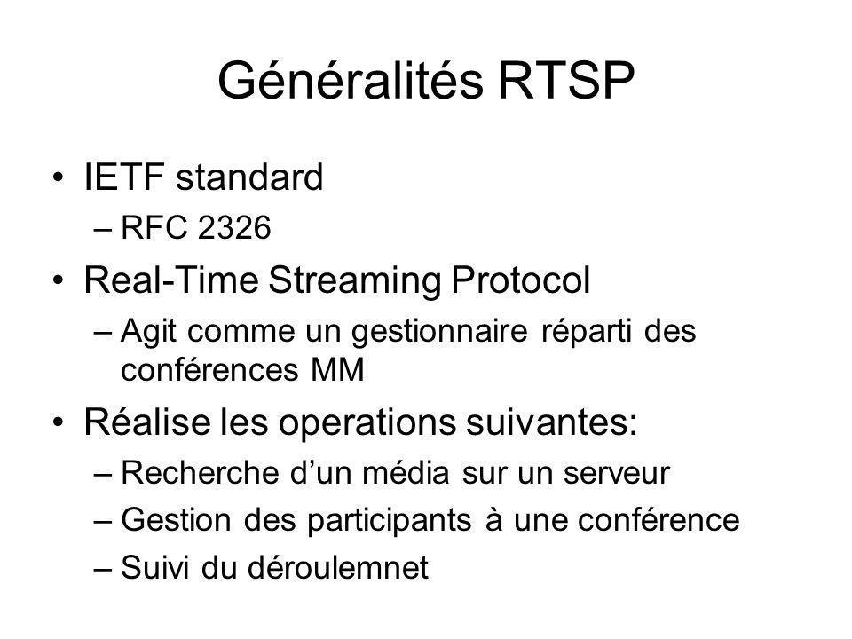 Généralités RTSP IETF standard –RFC 2326 Real-Time Streaming Protocol –Agit comme un gestionnaire réparti des conférences MM Réalise les operations su