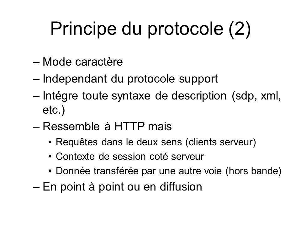 Principe du protocole (2) –Mode caractère –Independant du protocole support –Intégre toute syntaxe de description (sdp, xml, etc.) –Ressemble à HTTP m