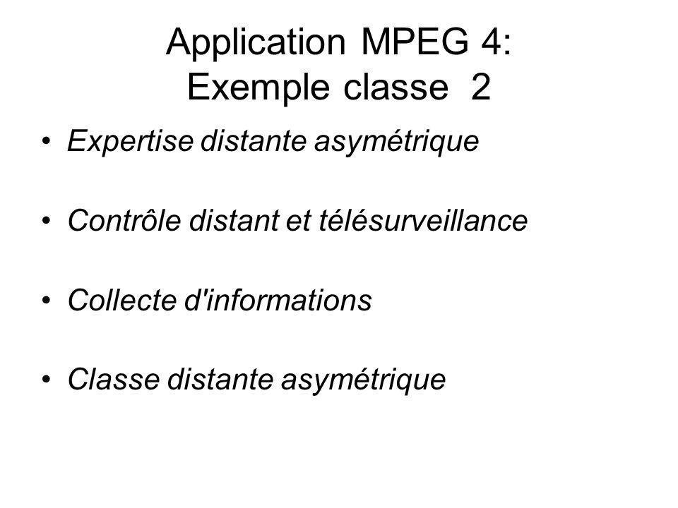 Application MPEG 4: Exemple classe 2 Expertise distante asymétrique Contrôle distant et télésurveillance Collecte d'informations Classe distante asymé