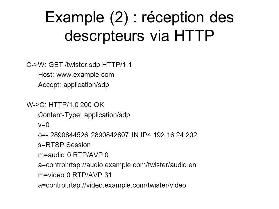 Example (2) : réception des descrpteurs via HTTP C->W: GET /twister.sdp HTTP/1.1 Host: www.example.com Accept: application/sdp W->C: HTTP/1.0 200 OK C