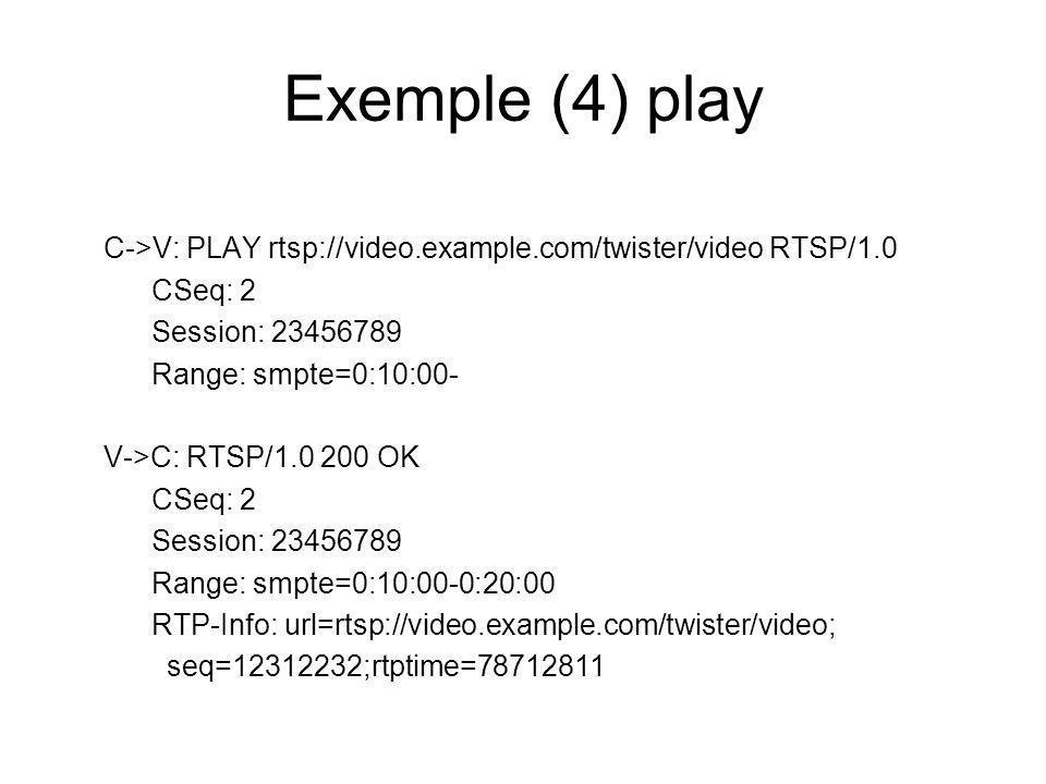 Exemple (4) play C->V: PLAY rtsp://video.example.com/twister/video RTSP/1.0 CSeq: 2 Session: 23456789 Range: smpte=0:10:00- V->C: RTSP/1.0 200 OK CSeq