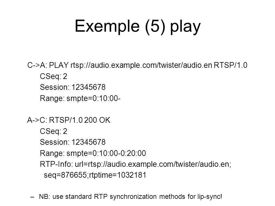Exemple (5) play C->A: PLAY rtsp://audio.example.com/twister/audio.en RTSP/1.0 CSeq: 2 Session: 12345678 Range: smpte=0:10:00- A->C: RTSP/1.0 200 OK C