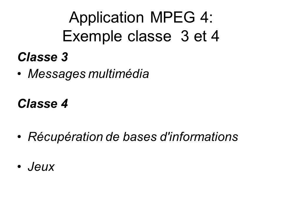 Application MPEG 4: Exemple classe 3 et 4 Classe 3 Messages multimédia Classe 4 Récupération de bases d'informations Jeux