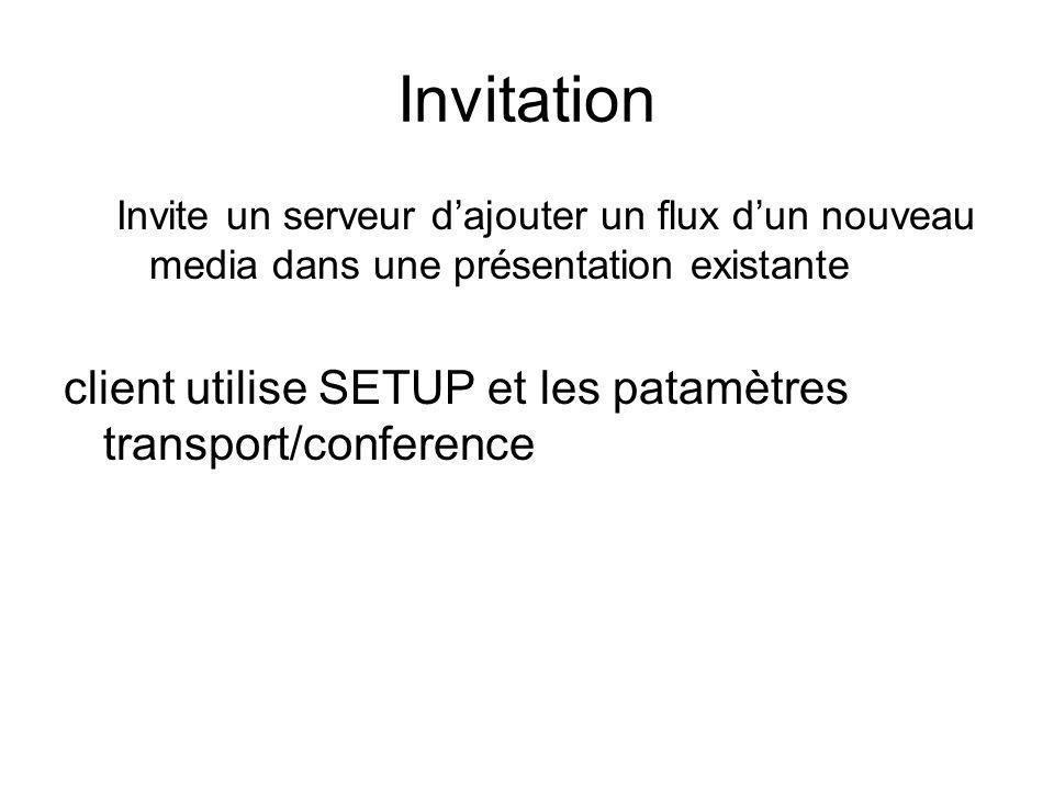 Invitation Invite un serveur dajouter un flux dun nouveau media dans une présentation existante client utilise SETUP et les patamètres transport/confe