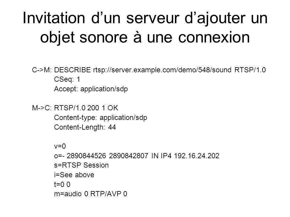 Invitation dun serveur dajouter un objet sonore à une connexion C->M: DESCRIBE rtsp://server.example.com/demo/548/sound RTSP/1.0 CSeq: 1 Accept: appli