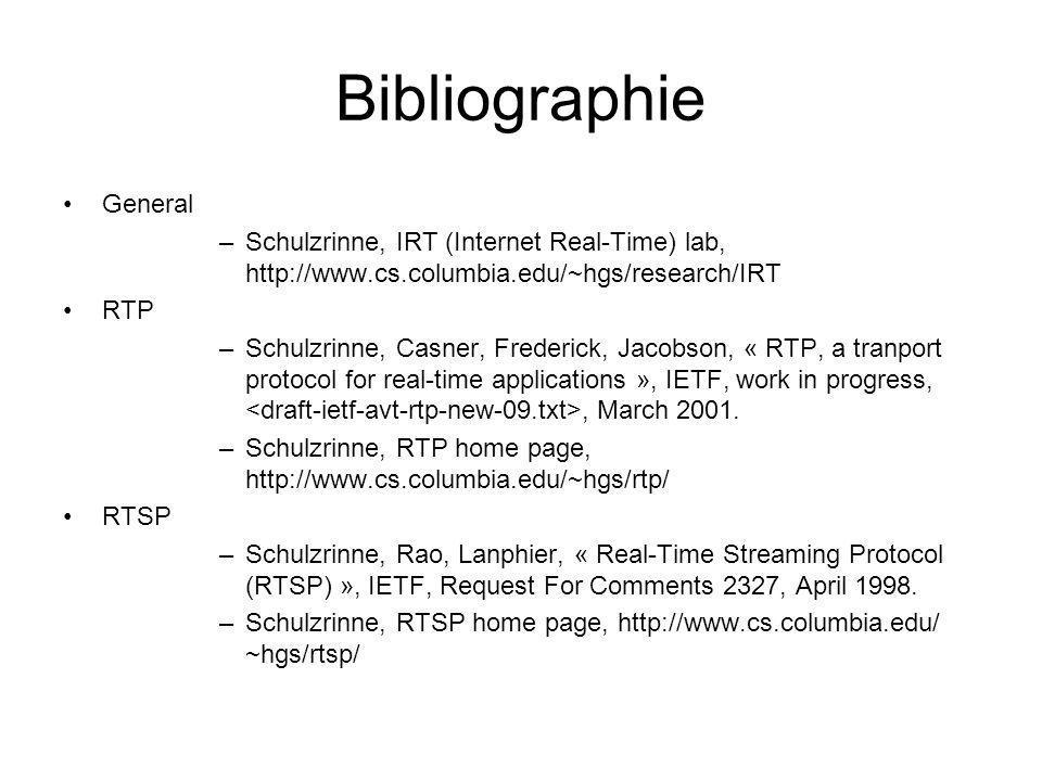 Bibliographie General –Schulzrinne, IRT (Internet Real-Time) lab, http://www.cs.columbia.edu/~hgs/research/IRT RTP –Schulzrinne, Casner, Frederick, Ja