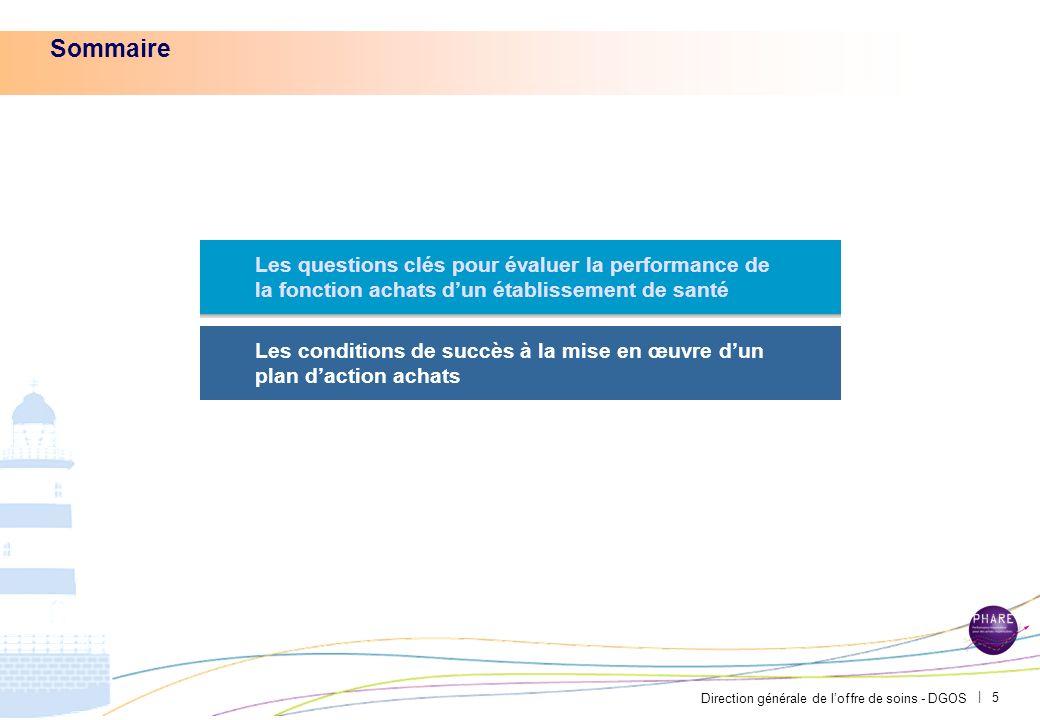 Direction générale de loffre de soins - DGOS | 5 Sommaire Les questions clés pour évaluer la performance de la fonction achats dun établissement de santé Les conditions de succès à la mise en œuvre dun plan daction achats