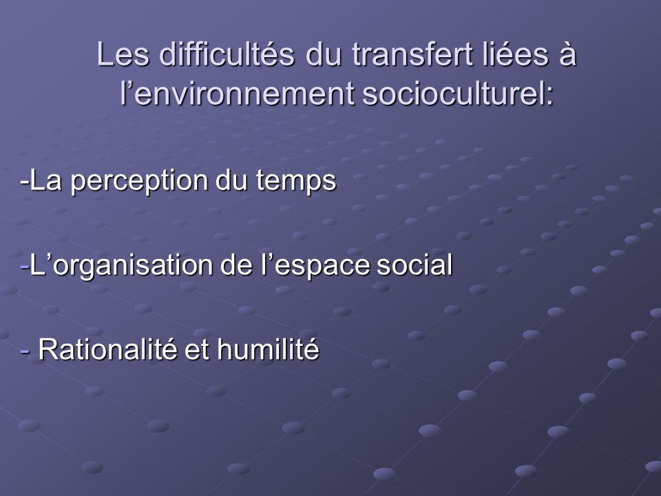 Les difficultés du transfert liées à lenvironnement socioculturel: -La perception du temps -Lorganisation de lespace social - Rationalité et humilité