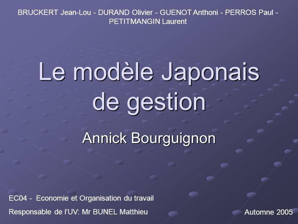 Le modèle Japonais de gestion Annick Bourguignon EC04 - Economie et Organisation du travail Responsable de lUV: Mr BUNEL Matthieu BRUCKERT Jean-Lou - DURAND Olivier - GUENOT Anthoni - PERROS Paul - PETITMANGIN Laurent Automne 2005