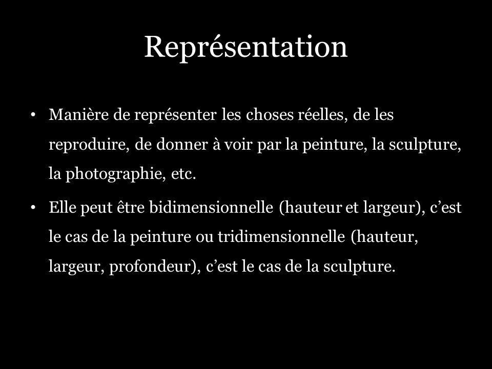 Représentation Manière de représenter les choses réelles, de les reproduire, de donner à voir par la peinture, la sculpture, la photographie, etc. Ell