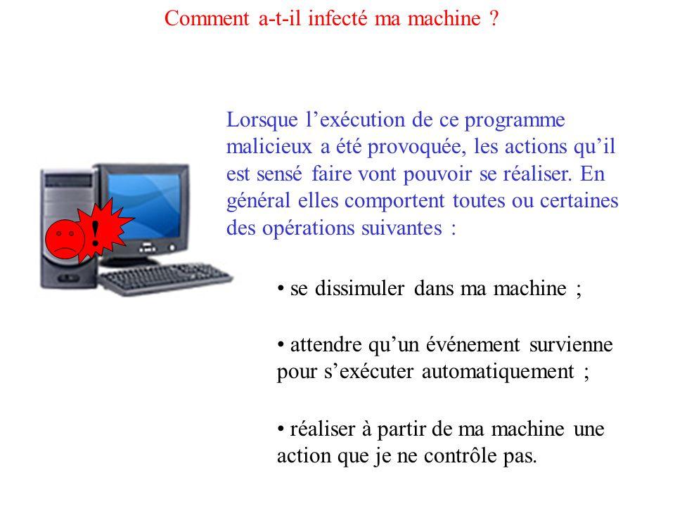 Comment a-t-il infecté ma machine ? Lorsque lexécution de ce programme malicieux a été provoquée, les actions quil est sensé faire vont pouvoir se réa