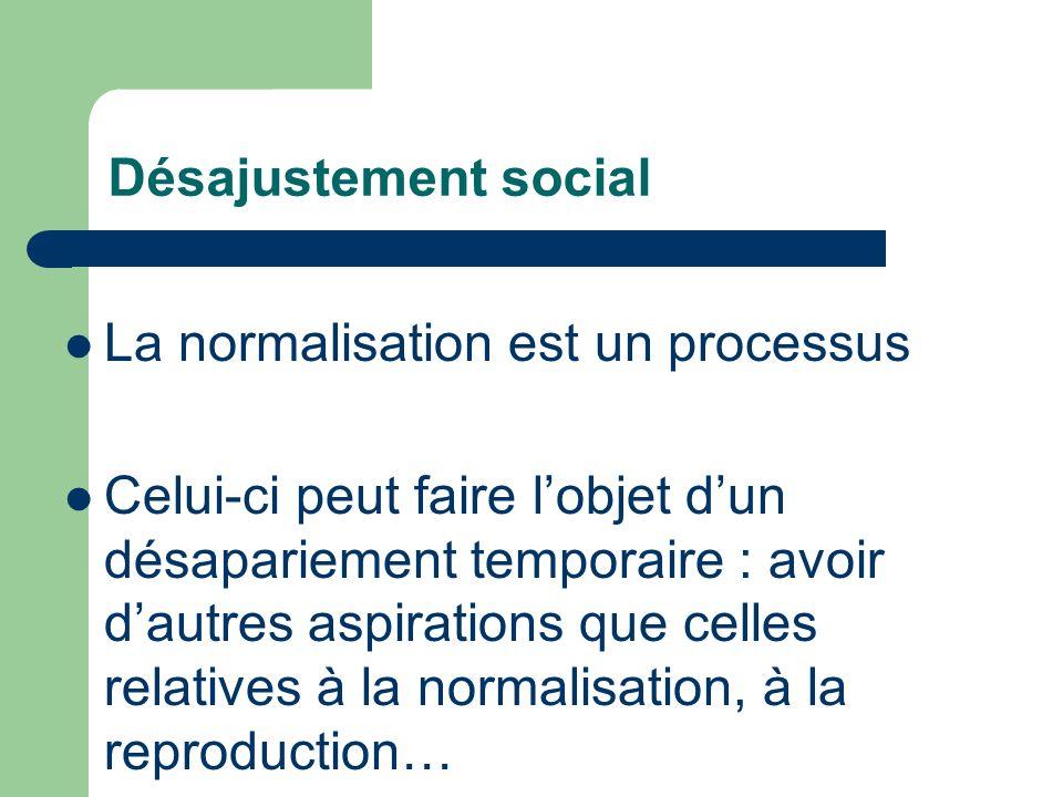 Désajustement social La normalisation est un processus Celui-ci peut faire lobjet dun désapariement temporaire : avoir dautres aspirations que celles