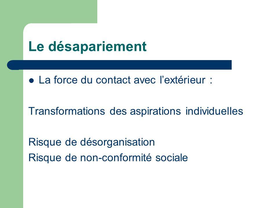 Le désapariement La force du contact avec lextérieur : Transformations des aspirations individuelles Risque de désorganisation Risque de non-conformit