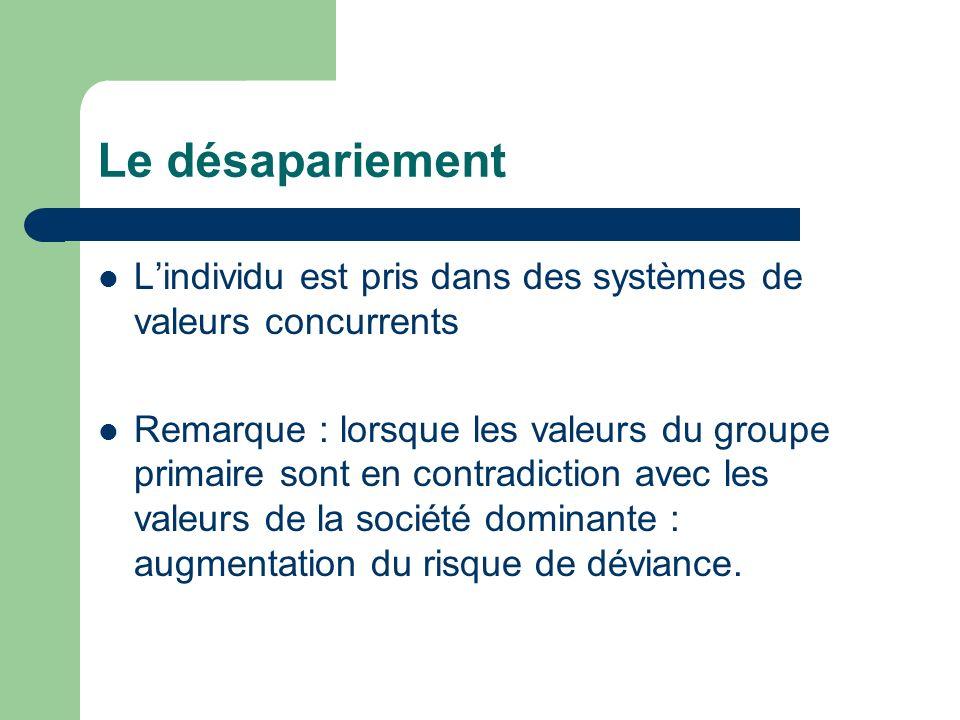 Le désapariement Lindividu est pris dans des systèmes de valeurs concurrents Remarque : lorsque les valeurs du groupe primaire sont en contradiction a