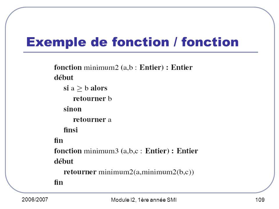 2006/2007 Module I2, 1ère année SMI 109 Exemple de fonction / fonction