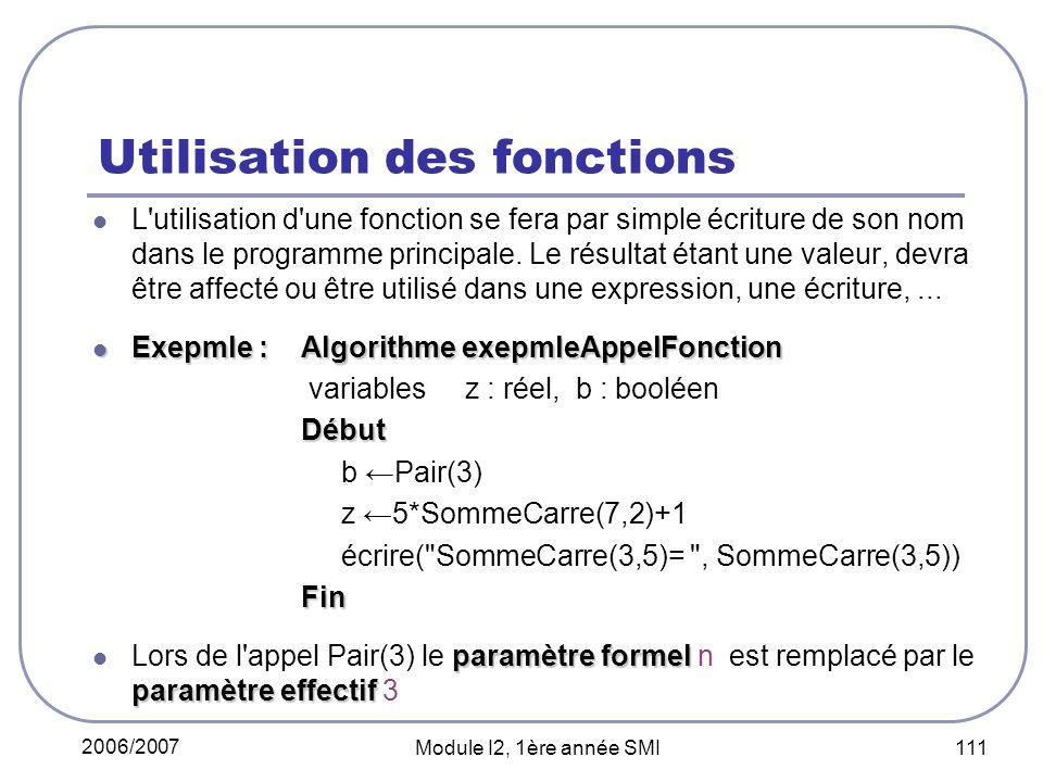 2006/2007 Module I2, 1ère année SMI 111 Utilisation des fonctions L'utilisation d'une fonction se fera par simple écriture de son nom dans le programm