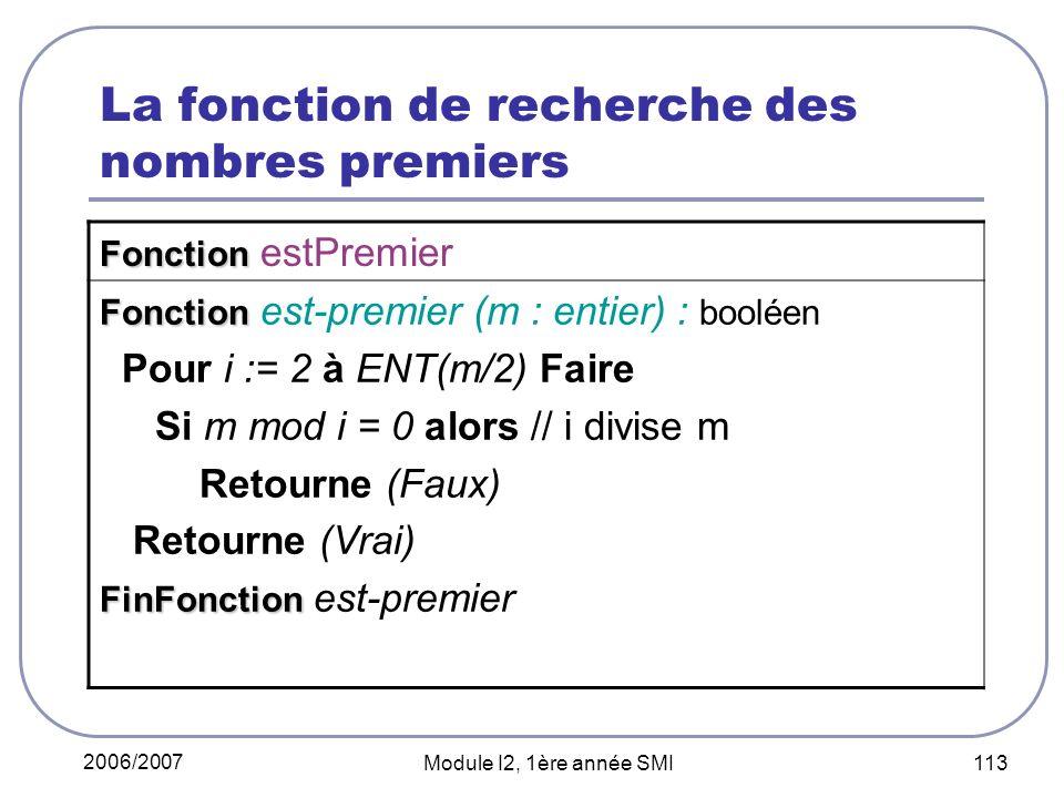 2006/2007 Module I2, 1ère année SMI 113 La fonction de recherche des nombres premiers Fonction Fonction estPremier Fonction Fonction est-premier (m : entier) : booléen Pour i := 2 à ENT(m/2) Faire Si m mod i = 0 alors // i divise m Retourne (Faux) Retourne (Vrai) FinFonction FinFonction est-premier