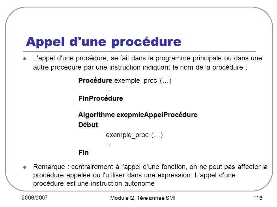 2006/2007 Module I2, 1ère année SMI 116 Appel d une procédure L appel d une procédure, se fait dans le programme principale ou dans une autre procédure par une instruction indiquant le nom de la procédure : Procédure Procédure exemple_proc (…) …FinProcédure Algorithme exepmleAppelProcédure Début exemple_proc (…) …Fin Remarque : contrairement à l appel d une fonction, on ne peut pas affecter la procédure appelée ou l utiliser dans une expression.