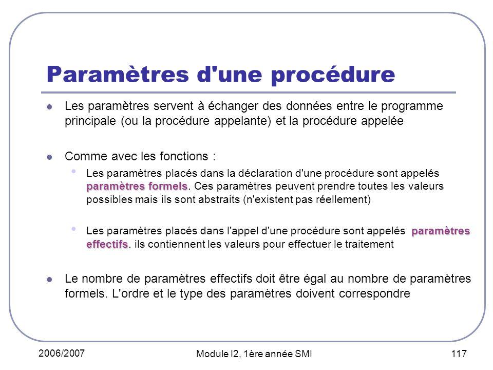 2006/2007 Module I2, 1ère année SMI 117 Paramètres d une procédure Les paramètres servent à échanger des données entre le programme principale (ou la procédure appelante) et la procédure appelée Comme avec les fonctions : paramètres formels Les paramètres placés dans la déclaration d une procédure sont appelés paramètres formels.