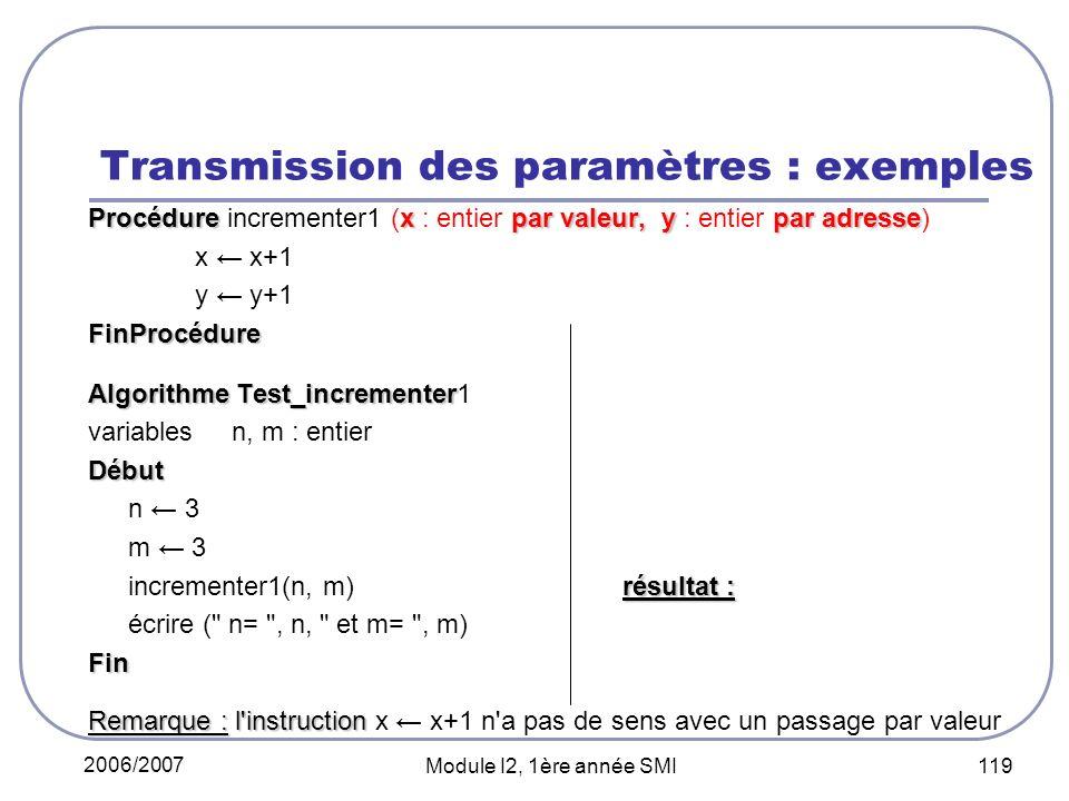 2006/2007 Module I2, 1ère année SMI 119 Transmission des paramètres : exemples Procédurexpar valeur, ypar adresse Procédure incrementer1 (x : entier par valeur, y : entier par adresse) x x+1 y y+1FinProcédure Algorithme Test_incrementer Algorithme Test_incrementer1 variables n, m : entierDébut n 3 m 3 résultat : incrementer1(n, m) résultat : n=3 et m=4 écrire ( n= , n, et m= , m) n=3 et m=4Fin Remarque : l instruction Remarque : l instruction x x+1 n a pas de sens avec un passage par valeur