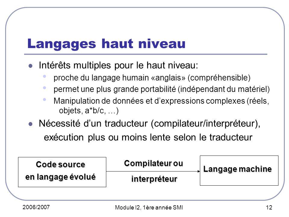 2006/2007 Module I2, 1ère année SMI 12 Langages haut niveau Intérêts multiples pour le haut niveau: proche du langage humain «anglais» (compréhensible) permet une plus grande portabilité (indépendant du matériel) Manipulation de données et dexpressions complexes (réels, objets, a*b/c, …) Nécessité dun traducteur (compilateur/interpréteur), exécution plus ou moins lente selon le traducteur Code source en langage évolué Compilateur ou Langage machine interpréteur interpréteur