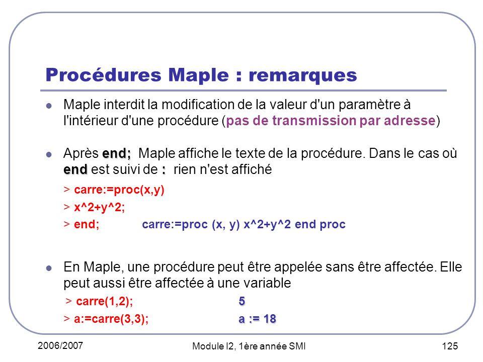 2006/2007 Module I2, 1ère année SMI 125 Procédures Maple : remarques Maple interdit la modification de la valeur d un paramètre à l intérieur d une procédure (pas de transmission par adresse) end; end: Après end; Maple affiche le texte de la procédure.