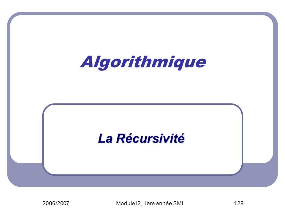 2006/2007Module I2, 1ère année SMI128 Algorithmique La Récursivité