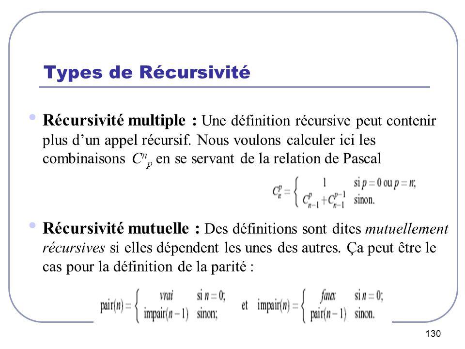 130 Types de Récursivité Récursivité multiple : Une définition récursive peut contenir plus dun appel récursif. Nous voulons calculer ici les combinai