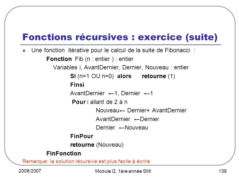 2006/2007 Module I2, 1ère année SMI 138 Fonctions récursives : exercice (suite) Une fonction itérative pour le calcul de la suite de Fibonacci : Fonction Fonction Fib (n : entier ) : entier Variables i, AvantDernier, Dernier, Nouveau : entier retourne Si (n=1 OU n=0) alors retourne (1) Finsi AvantDernier 1, Dernier 1 Pour i allant de 2 à n Nouveau Dernier+ AvantDernier AvantDernier Dernier Dernier Nouveau FinPour retourne retourne (Nouveau)FinFonction Remarque: la solution récursive est plus facile à écrire