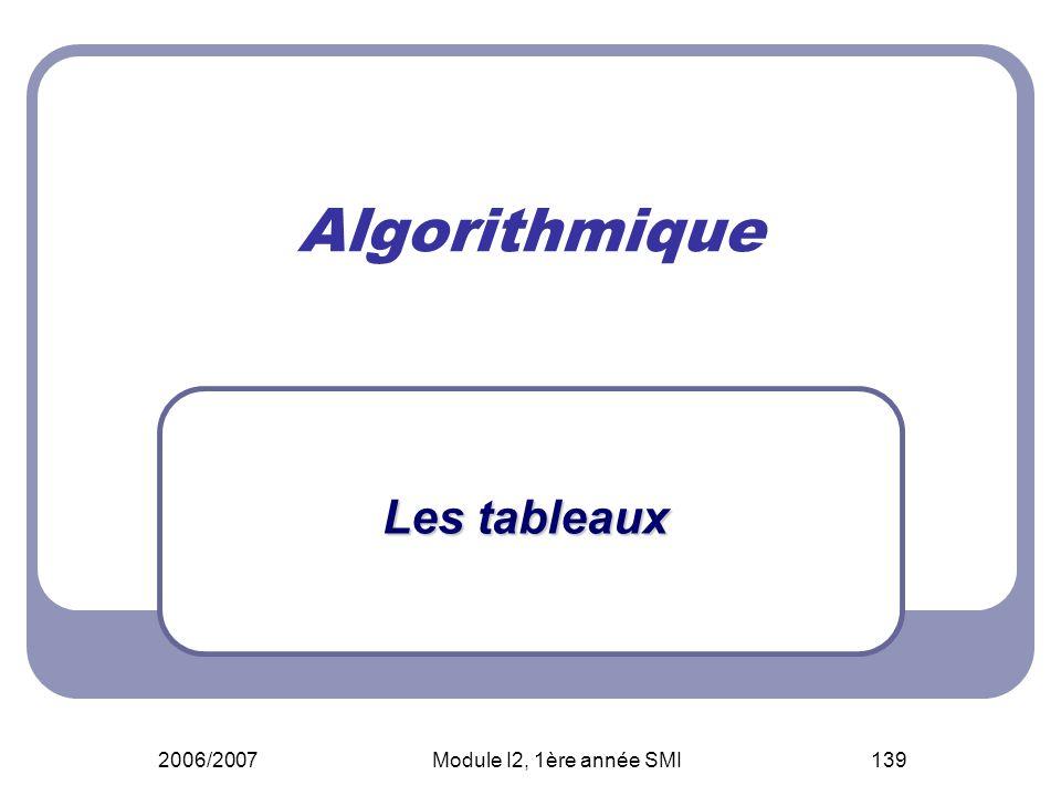 2006/2007Module I2, 1ère année SMI139 Algorithmique Les tableaux