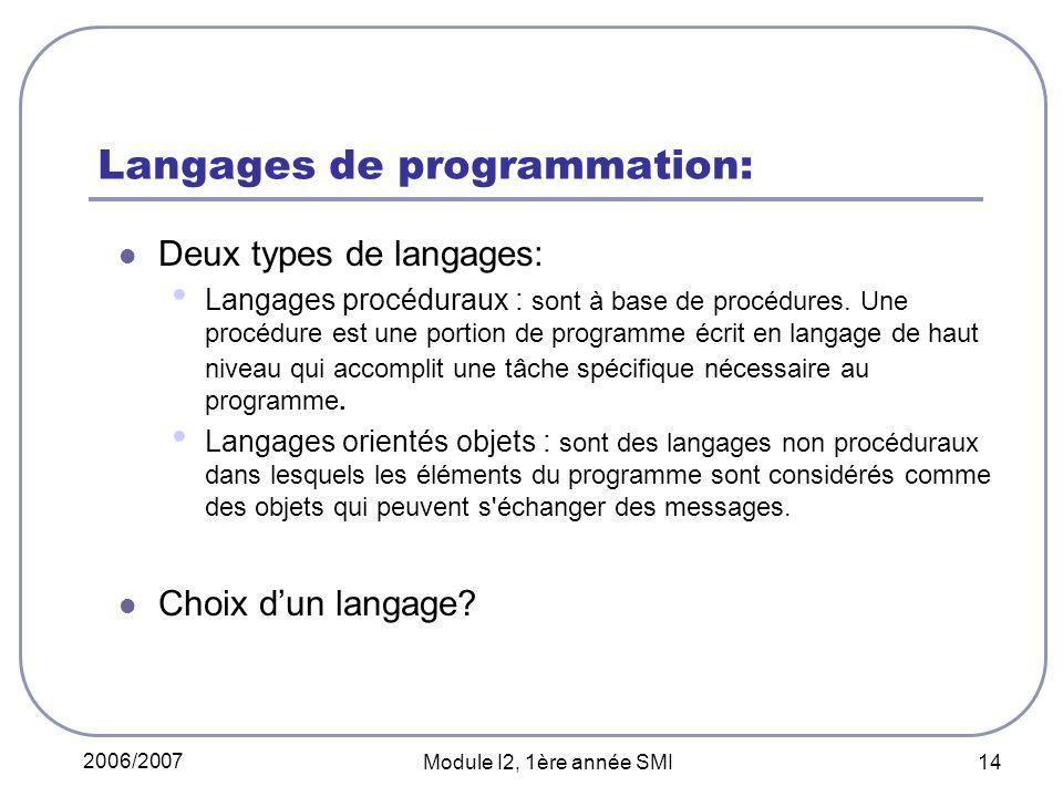 2006/2007 Module I2, 1ère année SMI 14 Langages de programmation: Deux types de langages: Langages procéduraux : sont à base de procédures. Une procéd
