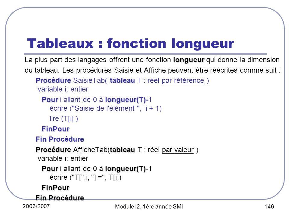 2006/2007 Module I2, 1ère année SMI 146 Tableaux : fonction longueur longueur La plus part des langages offrent une fonction longueur qui donne la dimension du tableau.