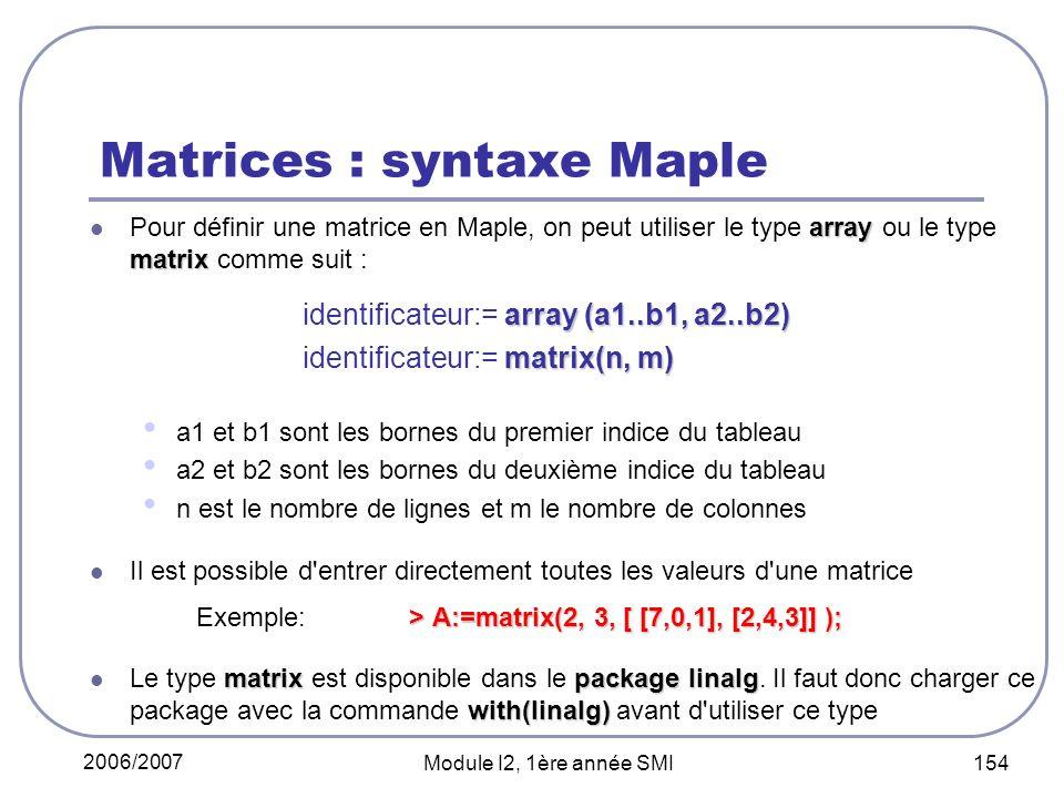 2006/2007 Module I2, 1ère année SMI 154 Matrices : syntaxe Maple array matrix Pour définir une matrice en Maple, on peut utiliser le type array ou le type matrix comme suit : array (a1..b1, a2..b2) identificateur:= array (a1..b1, a2..b2) matrix(n, m) identificateur:= matrix(n, m) a1 et b1 sont les bornes du premier indice du tableau a2 et b2 sont les bornes du deuxième indice du tableau n est le nombre de lignes et m le nombre de colonnes Il est possible d entrer directement toutes les valeurs d une matrice > A:=matrix(2, 3, [ [7,0,1], [2,4,3]] ); Exemple:> A:=matrix(2, 3, [ [7,0,1], [2,4,3]] ); matrixpackage linalg with(linalg) Le type matrix est disponible dans le package linalg.