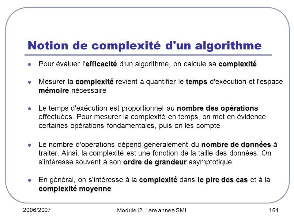 2006/2007 Module I2, 1ère année SMI 161 Notion de complexité d un algorithme efficacitécomplexité Pour évaluer lefficacité d un algorithme, on calcule sa complexité complexitétemps mémoire Mesurer la complexité revient à quantifier le temps d exécution et l espace mémoire nécessaire nombre des opérations Le temps d exécution est proportionnel au nombre des opérations effectuées.